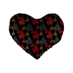 Leaves Pattern Background Standard 16  Premium Flano Heart Shape Cushions by Simbadda