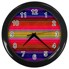 Fiestal Stripe Bright Colorful Neon Stripes Background Wall Clocks (black) by Simbadda
