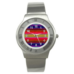 Fiestal Stripe Bright Colorful Neon Stripes Background Stainless Steel Watch by Simbadda