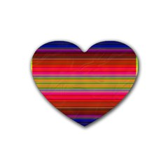 Fiestal Stripe Bright Colorful Neon Stripes Background Rubber Coaster (heart)  by Simbadda
