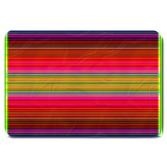 Fiestal Stripe Bright Colorful Neon Stripes Background Large Doormat  by Simbadda