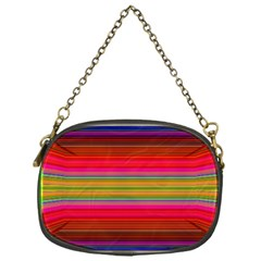 Fiestal Stripe Bright Colorful Neon Stripes Background Chain Purses (one Side)  by Simbadda