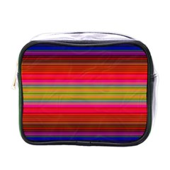 Fiestal Stripe Bright Colorful Neon Stripes Background Mini Toiletries Bags by Simbadda
