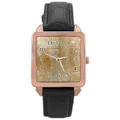 Texture Of Ceramic Tile Rose Gold Leather Watch  by Simbadda