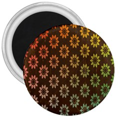 Grunge Brown Flower Background Pattern 3  Magnets by Simbadda