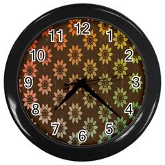 Grunge Brown Flower Background Pattern Wall Clocks (black) by Simbadda