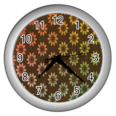 Grunge Brown Flower Background Pattern Wall Clocks (silver)  by Simbadda