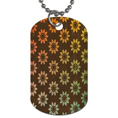 Grunge Brown Flower Background Pattern Dog Tag (one Side) by Simbadda