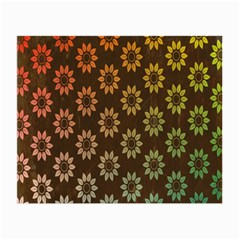 Grunge Brown Flower Background Pattern Small Glasses Cloth (2 Side) by Simbadda