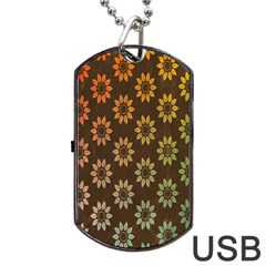 Grunge Brown Flower Background Pattern Dog Tag Usb Flash (two Sides) by Simbadda