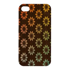 Grunge Brown Flower Background Pattern Apple Iphone 4/4s Premium Hardshell Case by Simbadda