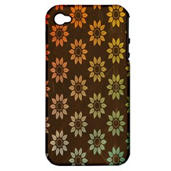 Grunge Brown Flower Background Pattern Apple Iphone 4/4s Hardshell Case (pc+silicone) by Simbadda