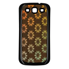 Grunge Brown Flower Background Pattern Samsung Galaxy S3 Back Case (black) by Simbadda