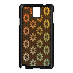 Grunge Brown Flower Background Pattern Samsung Galaxy Note 3 N9005 Case (black) by Simbadda