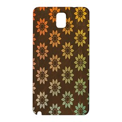 Grunge Brown Flower Background Pattern Samsung Galaxy Note 3 N9005 Hardshell Back Case by Simbadda