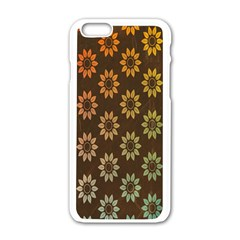 Grunge Brown Flower Background Pattern Apple Iphone 6/6s White Enamel Case by Simbadda