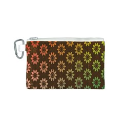 Grunge Brown Flower Background Pattern Canvas Cosmetic Bag (s) by Simbadda