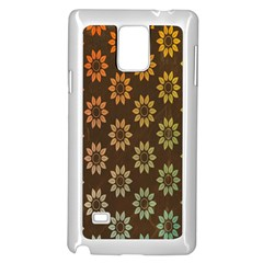 Grunge Brown Flower Background Pattern Samsung Galaxy Note 4 Case (white) by Simbadda