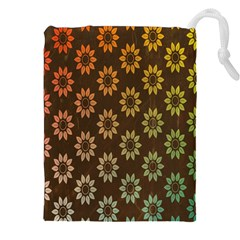 Grunge Brown Flower Background Pattern Drawstring Pouches (xxl) by Simbadda