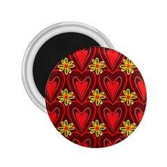 Digitally Created Seamless Love Heart Pattern Tile 2 25  Magnets by Simbadda