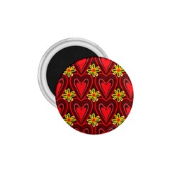 Digitally Created Seamless Love Heart Pattern Tile 1 75  Magnets by Simbadda