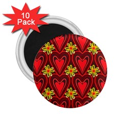 Digitally Created Seamless Love Heart Pattern Tile 2 25  Magnets (10 Pack)
