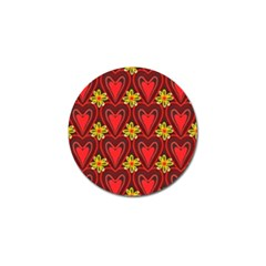 Digitally Created Seamless Love Heart Pattern Tile Golf Ball Marker by Simbadda