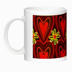 Digitally Created Seamless Love Heart Pattern Tile Night Luminous Mugs by Simbadda
