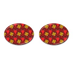 Digitally Created Seamless Love Heart Pattern Tile Cufflinks (oval) by Simbadda