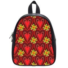 Digitally Created Seamless Love Heart Pattern Tile School Bags (small)  by Simbadda