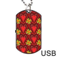 Digitally Created Seamless Love Heart Pattern Tile Dog Tag Usb Flash (one Side) by Simbadda