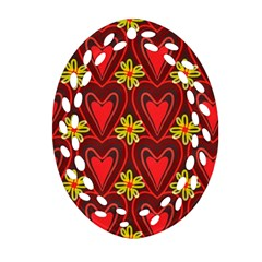 Digitally Created Seamless Love Heart Pattern Tile Oval Filigree Ornament (two Sides) by Simbadda