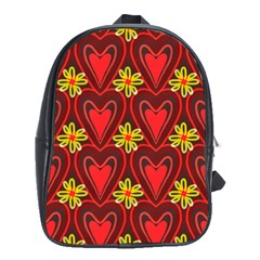 Digitally Created Seamless Love Heart Pattern Tile School Bags (xl)