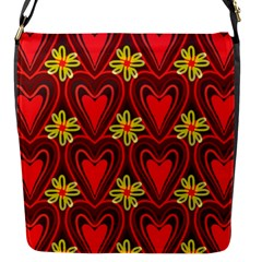 Digitally Created Seamless Love Heart Pattern Tile Flap Messenger Bag (s) by Simbadda
