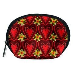 Digitally Created Seamless Love Heart Pattern Tile Accessory Pouches (medium)  by Simbadda