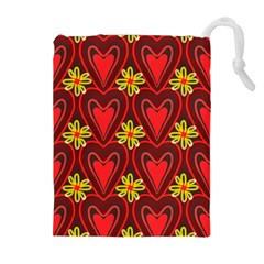Digitally Created Seamless Love Heart Pattern Tile Drawstring Pouches (extra Large) by Simbadda