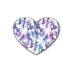 Floral Pattern Background Heart Coaster (4 Pack)  by Simbadda