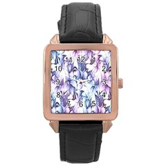 Floral Pattern Background Rose Gold Leather Watch  by Simbadda