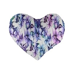 Floral Pattern Background Standard 16  Premium Flano Heart Shape Cushions by Simbadda