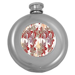 Floral Pattern Background Round Hip Flask (5 Oz) by Simbadda