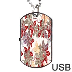 Floral Pattern Background Dog Tag Usb Flash (two Sides) by Simbadda