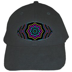 Cyan Yellow Magenta Kaleidoscope Black Cap by Simbadda