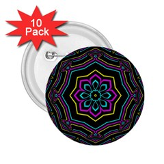 Cyan Yellow Magenta Kaleidoscope 2 25  Buttons (10 Pack)  by Simbadda