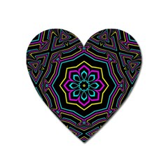 Cyan Yellow Magenta Kaleidoscope Heart Magnet by Simbadda