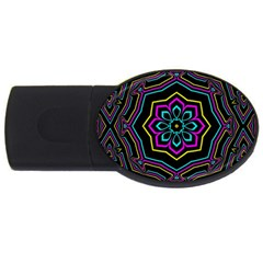 Cyan Yellow Magenta Kaleidoscope Usb Flash Drive Oval (4 Gb) by Simbadda