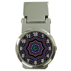 Cyan Yellow Magenta Kaleidoscope Money Clip Watches by Simbadda