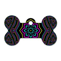 Cyan Yellow Magenta Kaleidoscope Dog Tag Bone (two Sides) by Simbadda