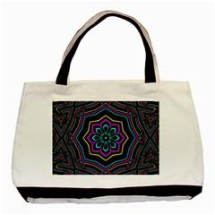 Cyan Yellow Magenta Kaleidoscope Basic Tote Bag (two Sides) by Simbadda