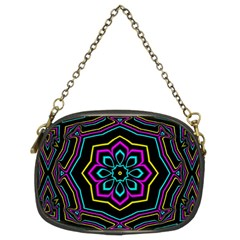Cyan Yellow Magenta Kaleidoscope Chain Purses (two Sides)  by Simbadda