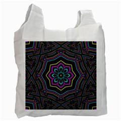 Cyan Yellow Magenta Kaleidoscope Recycle Bag (one Side) by Simbadda